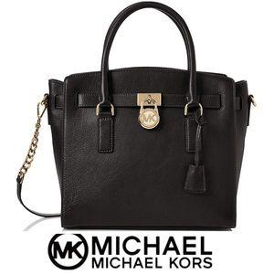 🆕 NWT Michael Kors Hamilton Satchel Black Leather